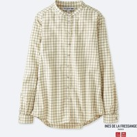 WOMEN IDLF FLANNEL CHECKED STAND COLLAR LONG-SLEEVE SHIRT
