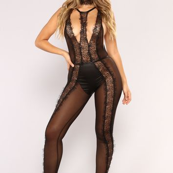 Little Bit Scandalous Lingerie Jumpsuit - Black