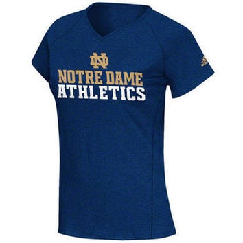 Notre Dame Fighting Irish adidas Heatherd Navy Womens Practice 11 Athletics ClimaLITE T-Shirt-Notre Dame Fighting Irish-NCAA- Gotta Go to Mo's