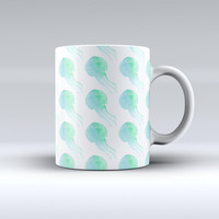 The Seamless WaterColor Jellyfish ink-Fuzed Ceramic Coffee Mug