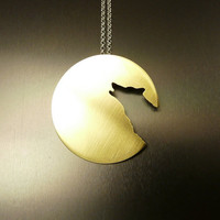 Lone Wolf  : smaller version brass pendant on a sterling silver chain