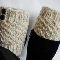 Knit Boot Cuff, Oatmeal color, wellies boot cuff,  knit leg warmers,Christmas gift, CHOOSE YOUR COLOR