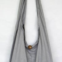 "YAAMSTORE ""basic gray"" sling  shoulder bag hippie hobo shopping travel carrying grocery school purse  MEDIUM plain simple black sb001"
