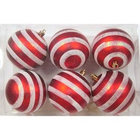Red and White Ball Ornament with Line Design