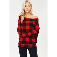 Off the Shoulder Plaid Tunic