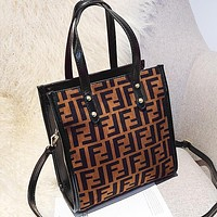 Wearwinds Fendi Fashion New More Letter Leather Women Shopping Shoulder Bag Handbag Coffee