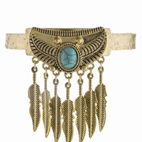 EMBOSSED FEATHER FRINGE FAUX TURQUOISE CUFF BRACELET