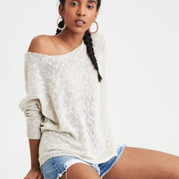 AE Slouchy Off-The-Shoulder Sweater, Oatmeal