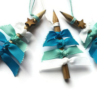 Christmas tree decorations Unique and Rustic Christmas ornaments or Gift Tags with ICE BLUE ribbons and genuine pencils