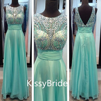 2014 newest beaded bodice chiffon elegant formal dress/ evening dress/ prom dress/ Party dress