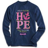 SALE Cherished Girl Jesus is the Hope that Anchors my Soul Cross Girlie Christian Bright Long Sleeve T Shirt