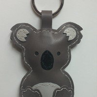 Amazing Leather koala Keychain Ring