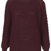 Knitted Chunky Bobble Jumper - Mulberry
