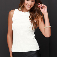 Olive & Oak Stay Awhile Knit Cream Top