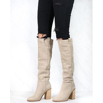 Saint Slouch Box Cut Knee High Suede Block Heel Boot in Grey