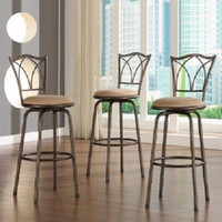 Bar Stools Set Of 3 Swivel Kitchen Counter Stool Metal Barstools Pub Dining New