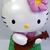 Hello Kitty with Pink Flower Guitar and Aloha Hawaiian Sanrio Auto Car Truck SUV Universal-fit Ornament - Dashboard Hula Dancer