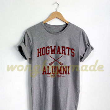 Hogwarts Alumni Shirt Harry Potter Black Grey Maroon and White Color Tshirt