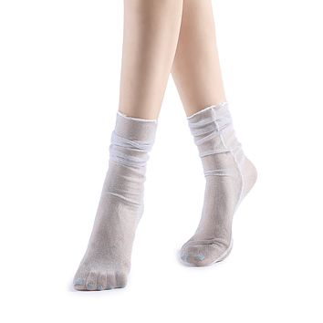 Diamond Sheer Crew Sock | White