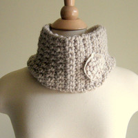 Cowl Neck Warmer - Linen Tan with Beige Fiber Flower.