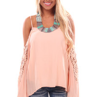 Dark Blush Off Shoulder Long Sleeve Top with Sleeve Patch Detail