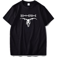 Anime T-Shirt cosplay Death Note T-shirt Anime L Summer Short Sleeved Camiseta Homme High Quality Soft Cotton Hipster Shirts Basic US Size AT_57_4