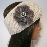 Ivory Winter White Knit Ear Warmer Headband Head Wrap with Camouflage Flower and a Smokey Brown Rhinestone Accent