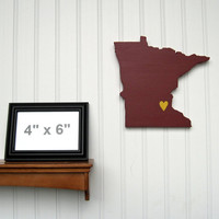 """Minnesota Golden Gophers  """"State Heart"""" wall art, handcrafted wood with official team colors"""