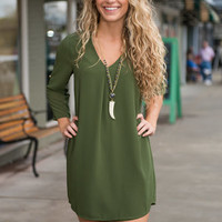 Tied And Seek Dress, Olive
