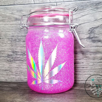 Holographic Glitter Glass Stash Jar, 420 Weed Gift Custom Herb, Mary Jane Cannabis Leaf Stoner Gift, Marijuana Container Accessories,