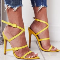 Hot style hot cross ribbon plastic buckle sexy pointed high heel sandals