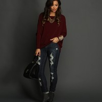 Sale-burgundy Oversized Dolman Top