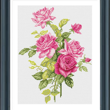 Scheme For Cross Stitch, Pink Roses Y618211, Cross Stitch Pattern, Embroidery, PDF, Instant Download