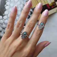 Evil Eye and Hamsa Ring Set - Midi Ring Above the Knuckle Jewelry