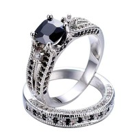 18K White Gold Plated Midnight Rendezvous Black CZ Solitaire Engagement Ring Set for Woman