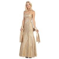 A Line Strapless Natural Waist Long Gold Formal Gown