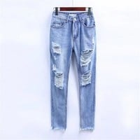 Ripped Holes Jeans Sexy High Waist Pants Skinny Pants [10199611207]