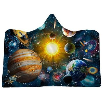 Universe Galaxy Print Soft Fluffy Wearable Blankets Nebula Hooded Throw Wrap Robe For Adults & Kids Home Bedding
