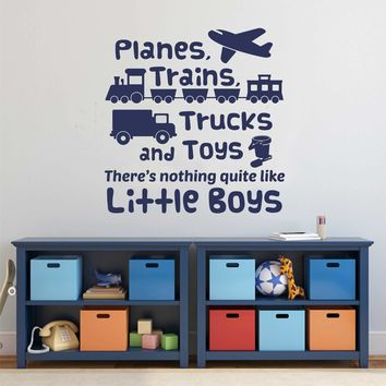 Planes Trains Trucks Boy Decal | Vinyl Wall Lettering | Wall Quotes