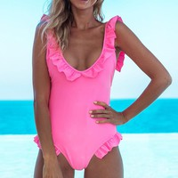 Sexy backless ruffles swimsuit women One piece lace up pink swimsuit Push up padded female swimsuit bathing suit