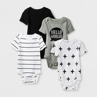 Baby 4pk Short Sleeve Bodysuit Black/White - Cloud Island™
