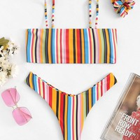 Rainbow Striped Print Cami Top With High Cut Bikini