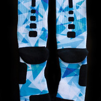 Thesockgame.com — X Blue Diamonds - Custom Nike Elite Socks - Inspired by Nike LeBron X shoes