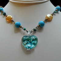 Pendant Vintage Necklace with Blue Beads Cream Pearls, Vintage Crystals, Antique Gold Chain, Turquoise Blue Flower Pendant & Free Shipping