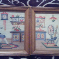 A Set of Two Framed Colonial Style Embroidered Needlepoint Artwork of Woman Knitting and a Man Smoking a Pipe