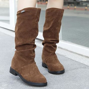 Hot Deal On Sale Winter With Heel Round-toe Casual Height Increase Boots [120848744473]