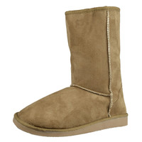 Womens Mid Calf Boots Fur Lined Pull On Winter Casual Pull on Shoes Tan SZ