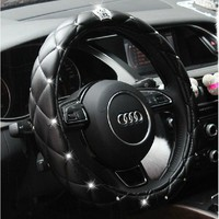 Rhinestone Crystal Crown Coverd Women car steering wheel cover Luxurious Diamond PU leather steering wheel Cover 36-38 Cm