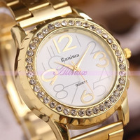 Classic Fashion Sexy Womens Lady Alloy Gold Crystal Quartz Dress Wrist Watch New (Size: One Size, Color: Gold) = 1956613956
