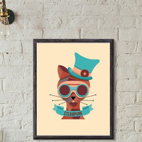 """Printable Wall art Poster /  steampunk cat / 8""""x10"""" Instant Download print for home Decor TheLabelBoutique digital artwork"""